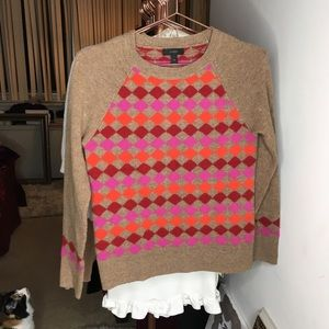 Jcrew wool sweater with checkered pattern